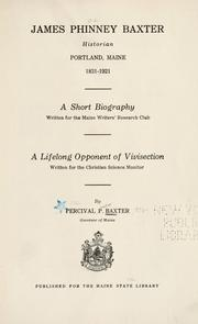 Cover of: James Phinney Baxter