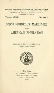 Cover of: Consanguineous marriages in the American population