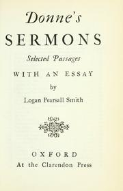 Cover of: Donne's sermons: selected passages