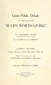"Cover of: Great public debate on the question ""Is life worth living"""