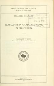 Cover of: Standards in graduate work in education