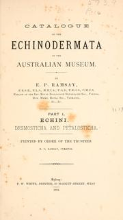 Cover of: Catalogue of the Echinodermata in the Australian museum