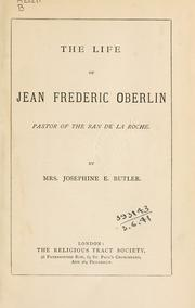 Cover of: The life of Jean Frederic Oberlin