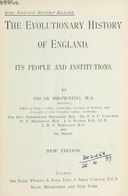 Cover of: Evolutionary history of England, its people and institutions