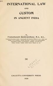 Cover of: International law and custom in ancient India