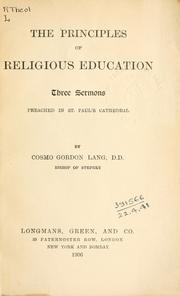 Cover of: The principles of religious education