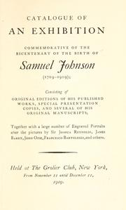 Cover of: Catalogue of an exhibition commemorative of the bicentenary of the birth of Samuel Johnson (1709-1909)