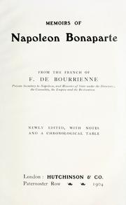 Cover of: Memoirs of Napoleon Bonaparte from the French of F. de Bourrienne