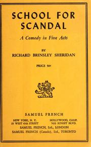 Cover of: The school for scandal