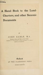 Cover of: A hand-book to the land-charters, and other Saxonic documents