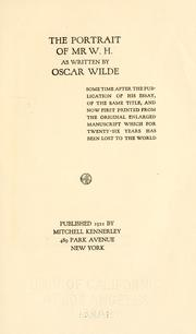Cover of: The portrait of Mr. W.H