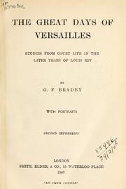 Cover of: The great days of Versailles