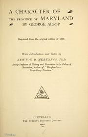 Cover of: A character of the province of Maryland