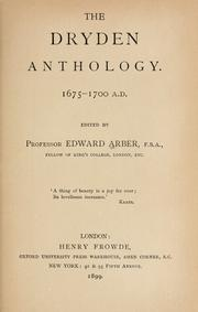 Cover of: The Dryden anthology