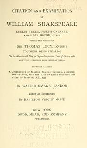 Cover of: Citation and examination of William Shakspeare, Euseby Treen, Joseph Carnaby, and Silas Gough, clerk