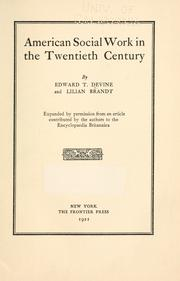 Cover of: American social work in the twentieth century