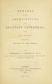 Cover of: Remarks on the architecture of Llandaff Cathedral