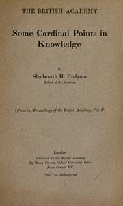 Cover of: Some cardinal points in knowledge