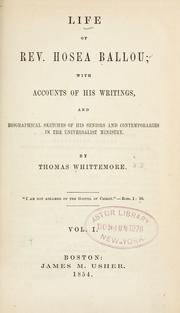 Life of Rev. Hosea Ballou by Thomas Whittemore