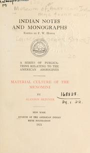 Cover of: Material culture of the Menomini