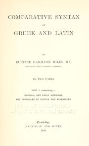 Cover of: Comparative syntax of Greek and Latin
