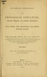 Cover of: Acadian geology by John William Dawson