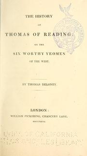 Cover of: The history of Thomas of Reading