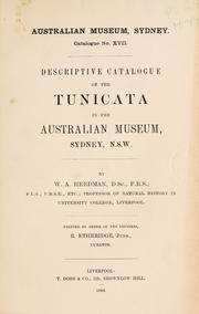 Cover of: Descriptive catalogue of the Tunicata in the Australian museum, Sydney, N.S.W