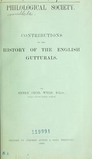 Cover of: Contributions to the history of the English gutturals