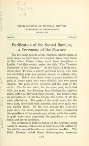 Cover of: Purification of the sacred bundles: a ceremony of the Pawnee