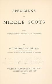 Specimens of Middle Scots by G. Gregory Smith