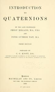Cover of: Introduction to quaternions: with numerous examples