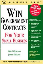 Cover of: Win Government Contracts for Your Small Business | John Di Giacomo