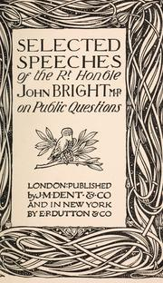 Cover of: Selected speeches