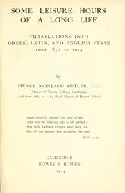 Cover of: Some leisure hours of a long life