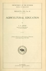 Cover of: Agricultural education