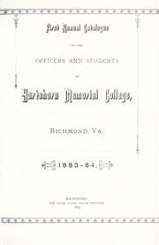 Cover of: First annual catalogue of the officers and students of Hartshorn Memorial College by Hartshorn Memorial College.