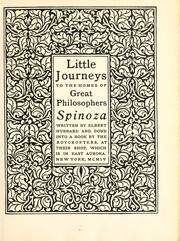 Cover of: Little journeys to the homes of great philosophers: Spinoza.