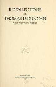 Cover of: Recollections of Thomas D. Duncan