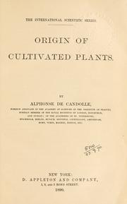 Cover of: Origin of cultivated plants