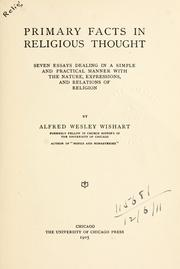 Cover of: Primary facts in religious thought