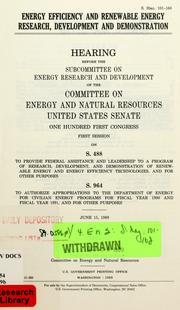 Cover of: Energy efficiency and renewable energy research, development, and demonstration