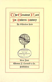 Cover of: The greatest fact in modern history: [The rise and development of the United States]