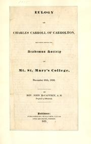 Eulogy on Charles Carroll of Carrolton by John McCaffrey