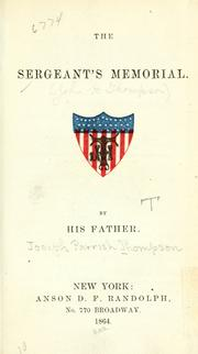 Cover of: The sergeant's memorial