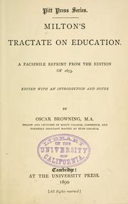 Cover of: Milton's tractate on education: a facsimile reprint from the ed. of 1673