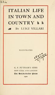 Cover of: Italian life in town and country