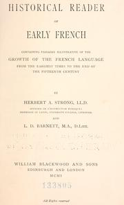 Cover of: Historical reader of early French
