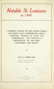 Cover of: Notable St. Louisans in 1900 | Cox, James