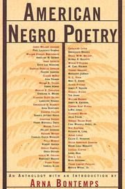 Cover of: American Negro Poetry